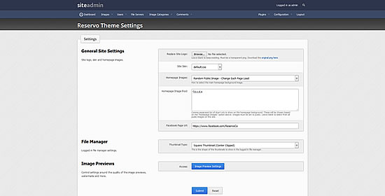 Admin Theme Settings